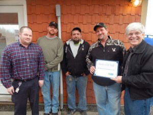 Ryan DeVay, Employment & Training Counselor for Finger Lakes Works-Seneca County, Joshua VanVleet, 2nd Shift Supervisor at Western Ag, Gerald Kirby, 1st Shift Supervisor at Western Ag, David Waugh, Site Manager at Western Ag, and John Vrabel, Deputy Director of Finger Lakes Works-Seneca County.