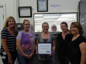 Kathy Bailey (far left), Business Service Representative for Ontario County Workforce Development, and Kristin Lupien (far right), Production & Sales Support Manager at Select Fabricators, are pictured along with several Select Fabricators employees who have accessed services from Finger Lakes Works; (l-to-r) Valerie Spencer, Susan Gilroy, Nancy Maciuska, and Cindy Eddy.