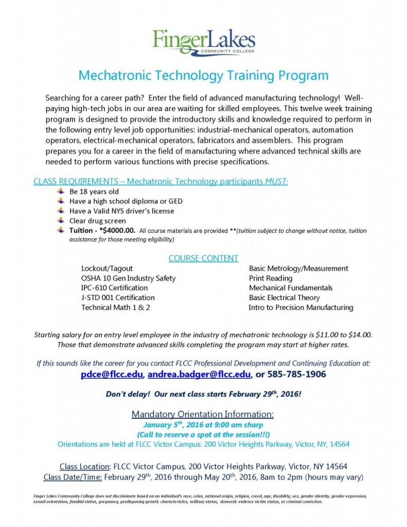 Mechatronic Technology_Feb29 2016 Class Announcement Spring
